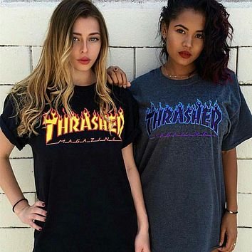 Thrasher Women Edgy Fashion Print Short sleeve Tunic Shirt Top Blouse