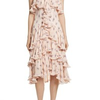 Cinq à Sept Edie Floral Print Tiered Silk Dress | Nordstrom