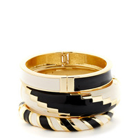 Set Of 3 Black & White Enamel Bangle Bracelets by Adia Kibur at Gilt