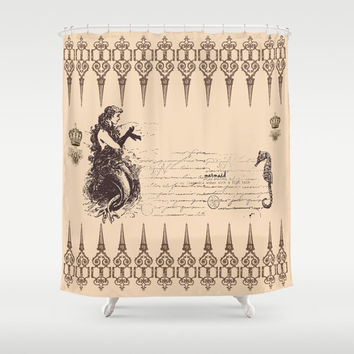 Mermaid Shower Curtain - Vintage look mermaid and Seahorse-  brown and beige, retro, details,  art, decor, bath, home