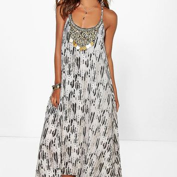 Petite Mia Snake Print Beaded Hanky Hem Dress | Boohoo