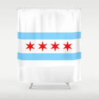 Chicago Flag Shower Curtain, Custom Shower Curtain, Bathroom Decor for Men, Teens