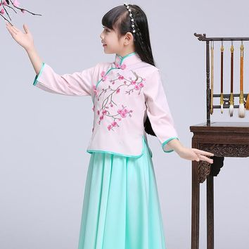 2017 autumn chinese qipao kids baby girl floral peacock cheongsam dress for years