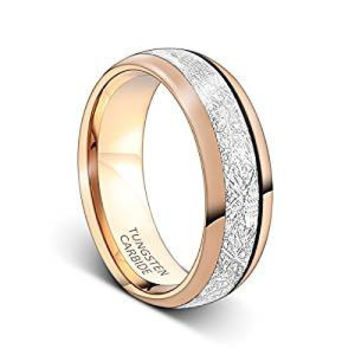 8mm Rose Gold Tungsten Carbide Ring Meteorite Inlay Wedding Band (14k, 18k Rose Gold)