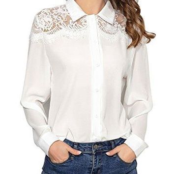 Dresms Women Casual Long Sleeve Floral Lace V Neck Button Down Shirt Blouse Top Tunic