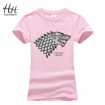 HanHent Camouflage Women Game of Thrones Stark Wolf T-shirt Femmes Pink Animal Printed Fashion Tops Summer Tie Dye T Shirt Women