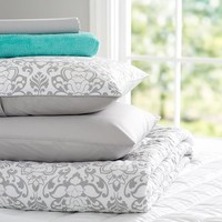 Decorator Damask Deluxe Comforter Value Set, Light Grey
