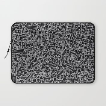 Black and silver zentangles Laptop Sleeve by Savousepate