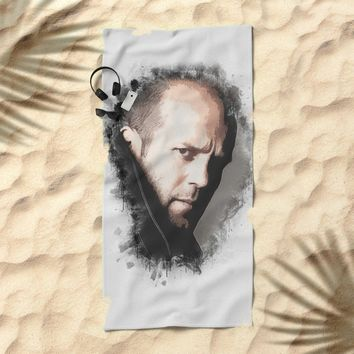 A Tribute to JASON STATHAM Beach Towel by naumovski