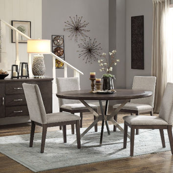 "Home Elegance HE-5581-54 5 pc Ibiza oak finish wood stainless steel base 54"" round dining table set"