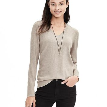 Banana Republic Womens Italian Cashmere Blend Vee Sweater Pullover