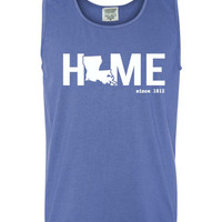 Custom Louisiana Home Comfort Color Tank Top.  Show Your state pride and state love. Perfect for the Summer and the Beach