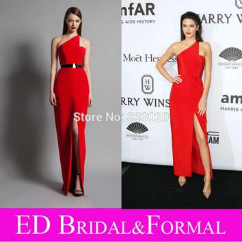 Kendall Jenner One Shoulder Satin High Slit Red Prom Dress  New York Gala Celebrity Formal Evening Gown