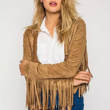 Brown Fringed Long-Sleeve Faux Suede Leather Jacket