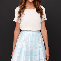 Ice Dream Cream and Light Blue Midi Skirt