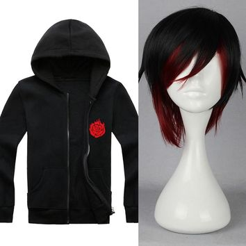 RWBY Red Trailer Ruby Rose hoodie Short Black Red Ombre Heat Resistant Cosplay Costume Wig