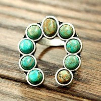 Natural Turquoise Squash Blossom Adjustable Ring