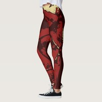 Deep Red Abstract Pattern With Beige Accents Leggings