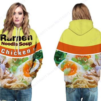 Delious Ramen Noodle Soup Hooded Sweatshirts Chicken Letter Print Skateboarding Hoodies Women Autumn Loose Pullovers with Pocket