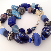 "Cobalt Blue tribal style Necklace with Vintage Blue Glass, ceramic & lamp work beads - 16"" L - tribal feel - sterling silver clasp"