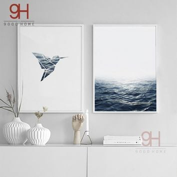 Unframed 2 PCs Nordic Sea Scenery Art Print Poster Canvas Painting Wall Picture Living Room Decoration