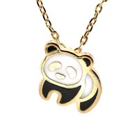 Gold Plated Black Panda Bear Necklace