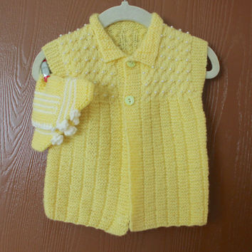Handmade Yellow Knit Baby VEST/Baby Knitted Cardigan/ Hand Knit Baby Clothing / Baby Booties / Baby Knit Sweater / Ready to be shipped TODAY