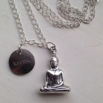 Vintage Silver Buddha Tibetan Kwan Yin Karma Necklace Pendants Charms Statement  Collar Choker For Women DIY Jewelry 10pcs B 06