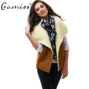 Gamiss 2017 Women Basic Sherpa Vest Coat Female Winter Autumn Warm Sleeveless Outwear Cool Waistcoat For Party Office vestidos