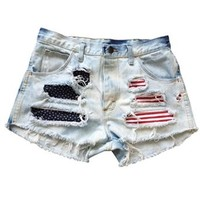 Vintage Shredded American Flag Wrangler Ripped Frayed High Waisted Shorts