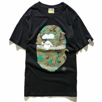 DCCKN6V Unisex BAPE Monogram Print Cotton T-Shirt Tee Top