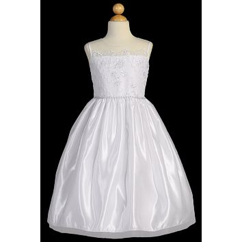 Satin & Tulle Girls Communion Dress w. Floral Cord Embroidery 6-12