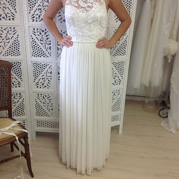Beautiful high neck wedding dress with stunning key hole back, lace top and dreamy silk chiffon skirt