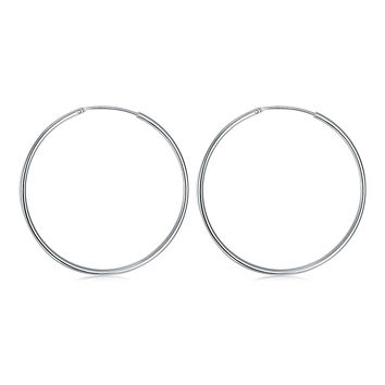 Smooth Round Hoop Silver Earrings