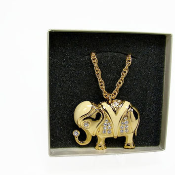 Kenneth Jay Lane for Avon Royal Elephant Necklace Still in Box, Vintage Necklace, Elephant Pendant, Vintage Jewelry, Avon Necklace Brooch