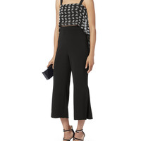 Side Pleated Cuff Cropped Pants