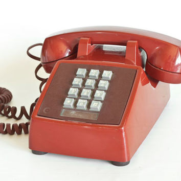 Vintage Western Electric Red Push Button Phone, Bell 1980s Red Telephone, Home Staging PROP