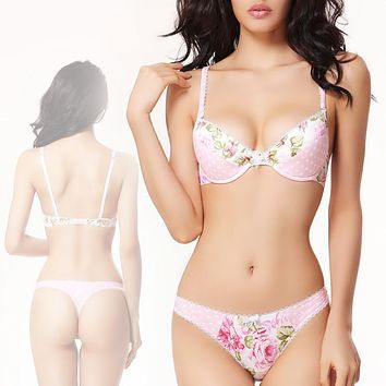 Sexy Lingerie Push Up Women Bra Set Flower Dots Patchwork Cute Japanese Cotton Underwear Ladies Bra and Panty Sets String Thong