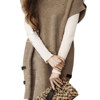Taupe Plus Size Short Sleeve Knitted Dress