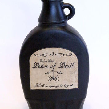 Potion of Death, Halloween Spell Bottle, Spell Ingredient Bottle, Halloween Decor, Halloween, Potion Ingredient, Aged and Distressed Bottle