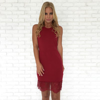 Pure Connection Bodycon Dress In Burgundy