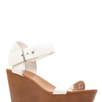 White Faux Leather Clog Wedges