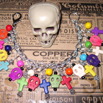 Day of The Dead Charm Bracelet Sugar Skull Jewelry Rainbow Dia De Los Muertos Beads Mexican Themed Jewelry OOAK Eclectic Statement Piece