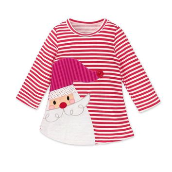 Boutique Girls Santa Striped Christmas Dress