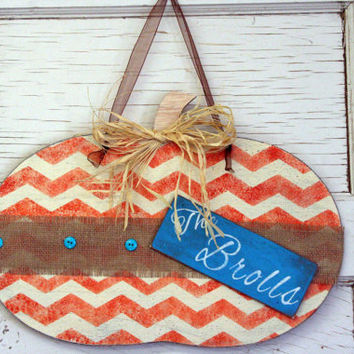 Halloween Decor Fall Decor Autumn Decor Personalized Sign Custom Sign Rustic Shabby Chic Chevron Stripe Turquoise and Orange Handmade