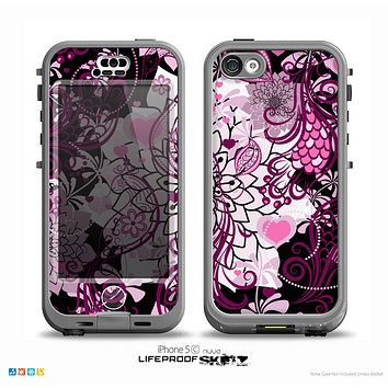 The White and Pink Birds with Floral Pattern on Black Skin for the iPhone 5c nüüd LifeProof Case