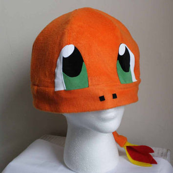 Charmander Hat With Tail Pokemon Fleece Hat Anime Manga Cosplay Rave Skiing Snowboarding Video Game