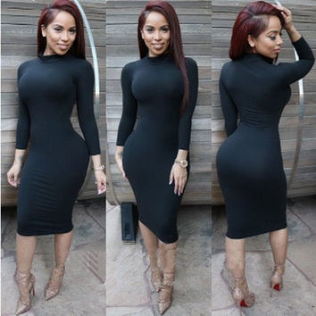 Long Sleeve Turtleneck Bodycon Midi Dress