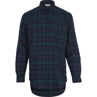 River Island MensBlack longer length zip check shirt