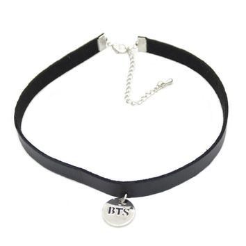 Lychee 1 piece Gothic Punk Black BTS Leather Choker Necklace KPOP Bangtan Boys Collar Collette Necklace Jewelry